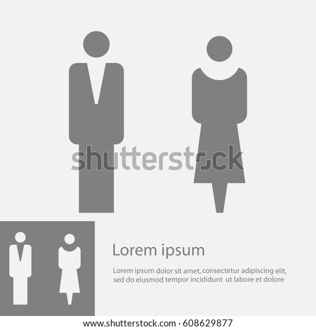 Vector man and woman icons  toilet sign  restroom icon  minimal. Man Woman Icon Stock Images  Royalty Free Images   Vectors