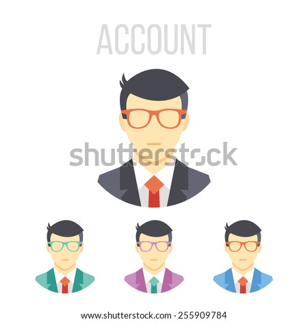 Vector man icons set. Isolated on white background. - stock vector