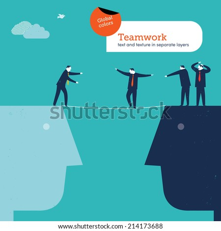 Vector man walking a tightrope Vector illustration Eps10 file. Global colors. Text and Texture in separate layers. - stock vector