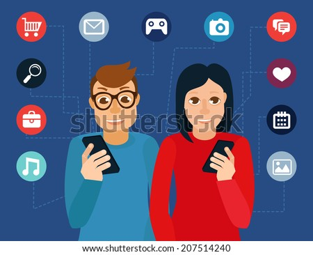 Vector man wearing glasses and woman in flat style - social media addiction concept - stock vector