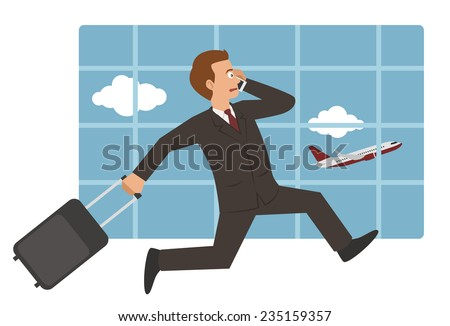 vector man with suitcase running to catch plane