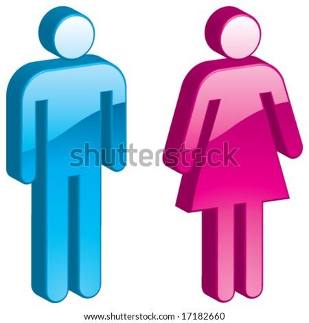 Vector Man & Woman - 3D Glossy Icon - stock vector