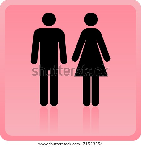 Vector Man & Woman icon over pink background - stock vector