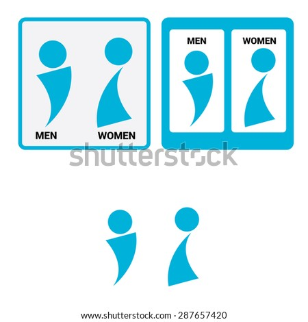 Vector Man U0026 Woman Restroom Sign. Square Toilet Sign With Toilet, Men  And Women