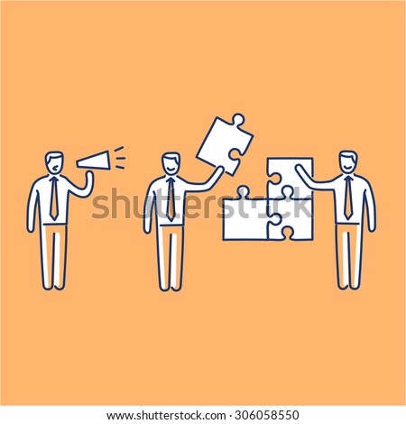 Vector management skills icon of one manager and two businessman building puzzle | modern flat design soft skills linear illustration and infographic on orange background - stock vector