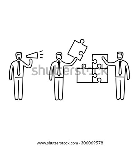 Vector management skills icon of one manager and two businessman building puzzle | modern flat design soft skills linear illustration and infographic black on white background