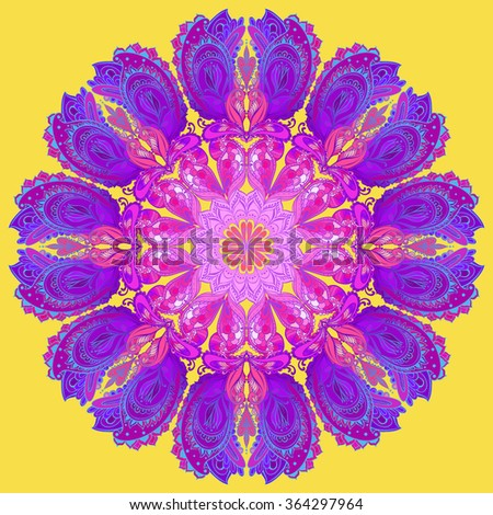 Vector Mandala background. Round Indian Ornament Pattern - stock vector