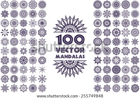 Vector mandala collection. Vintage decorative elements. Hand drawn background. Islam, Arabic, Indian, ottoman motifs.  - stock vector