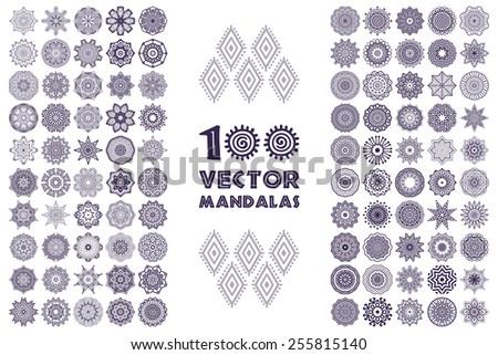 Vector mandala collection. Vintage decorative elements. Hand drawn background. Islam, Arabic, Indian, ottoman motifs.  - stock vector