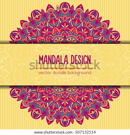 Vector mandala decor for your design with abstract ornament. Vector tribal business card. Oriental design Layout. Islam, Arabic, Indian, ottoman motifs. Ornamental doodle background.