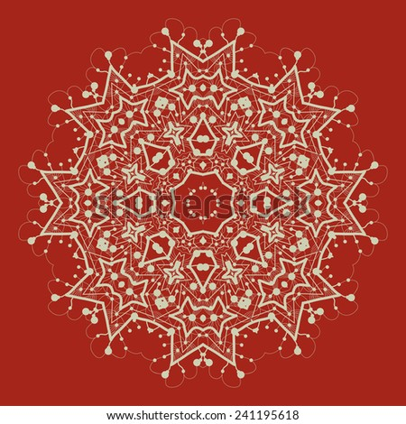 Vector mandala on red. Art vintage decorative elements. Hand drawn tribal style yantra or chakra symbol. Arabic indian, ottoman, asian motifs. Flayer template a lot of copyspace. - stock vector