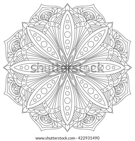 Vector Mandala. Oriental decorative element. Ethnic design element. Hand drawn mandala. Monochrome contour mandala for coloring. Mandala. Mandala. Mandala. Mandala. Mandala. Mandala. Mandala. Mandala. - stock vector
