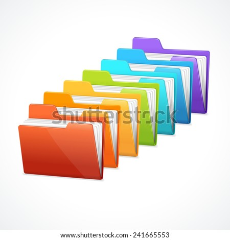 Vector many rainbow folders on the white background