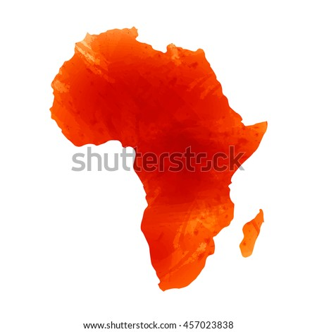 Vector map Africa. Isolated vector Illustration. Orange watercolor effect. EPS 10 Illustration. - stock vector