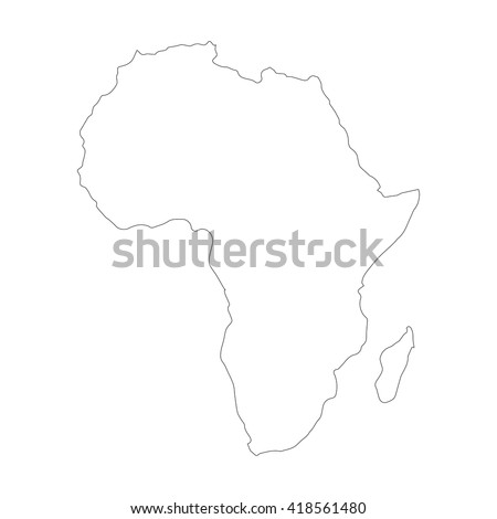 Vector map Africa. Outline map. Isolated vector Illustration. Black on White background. EPS 8 Illustration. - stock vector