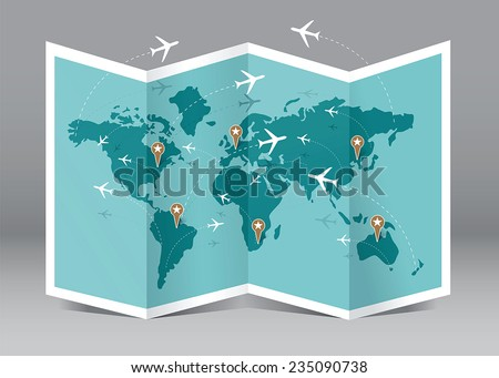 Vector map and airplane flights - stock vector