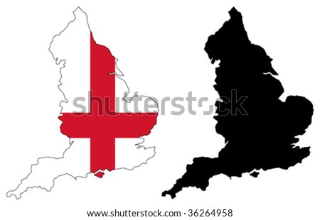 vector map and flag of england. - stock vector