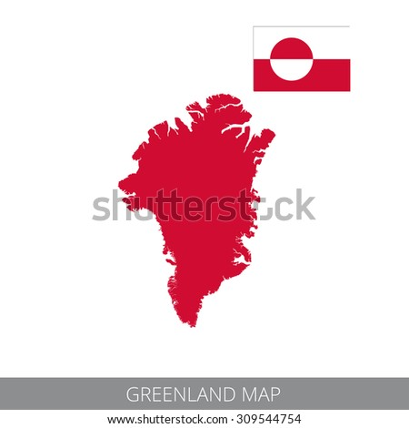 Vector map and flag of Greenland. - stock vector