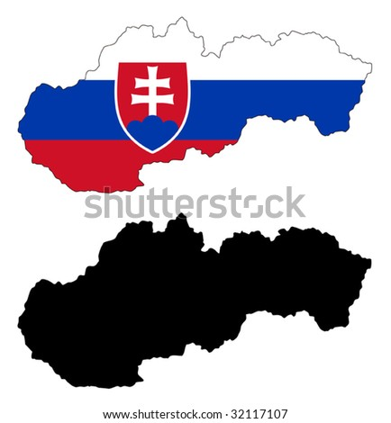 vector map and flag of Slovakia with white background.