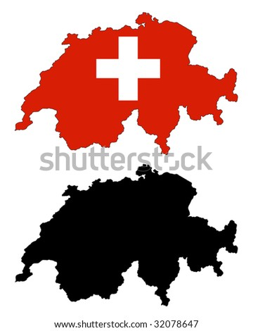 vector map and flag of Switzerland with white background.