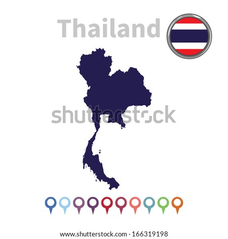 vector map and flag of Thailand