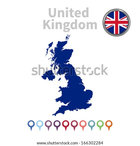 vector map and flag of United Kingdom - stock vector