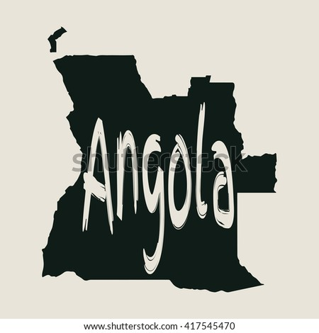 Vector map Angola. Gray Isolated vector Illustration. On Beige background. Typography design. EPS 8 Illustration. - stock vector