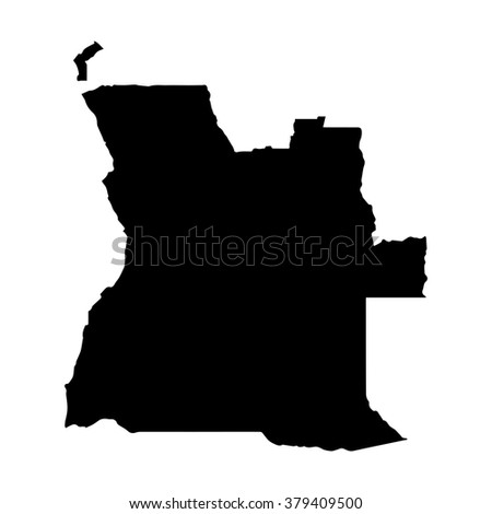 Vector map Angola. Isolated vector Illustration. Black on White background. EPS Illustration. - stock vector