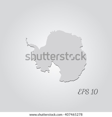Vector map Antarctica. Isolated vector Illustration. Gray on Gradient background. With shadow. EPS 10 Illustration with an inscription. - stock vector