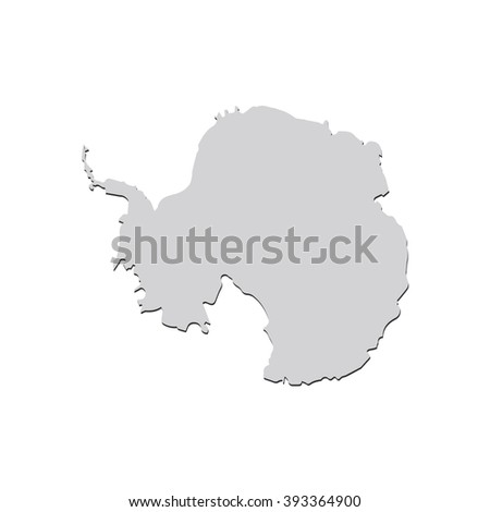 Vector map Antarctica. Isolated vector Illustration. Gray on White background. With shadow. EPS 10 Illustration. - stock vector