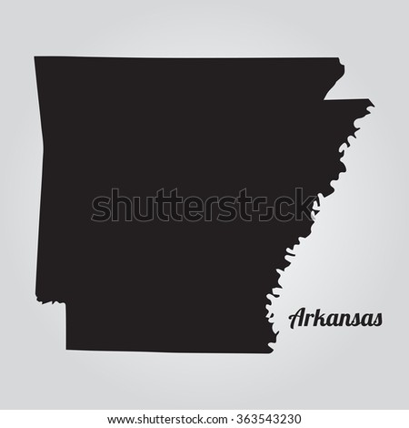 Vector map Arkansas. Gray Vector Illustration. Isolated vector Illustration. Black on Gradient background. EPS Illustration with an inscription Arkansas. - stock vector