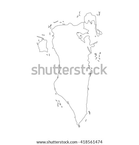 Vector map Bahrain. Outline map. Isolated vector Illustration. Black on White background. EPS 8 Illustration. - stock vector