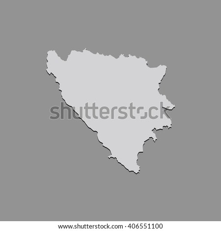Vector map Bosnia & Herzegovina. Gray Isolated vector Illustration. On Grey background. With shadow. EPS 10 Illustration. - stock vector