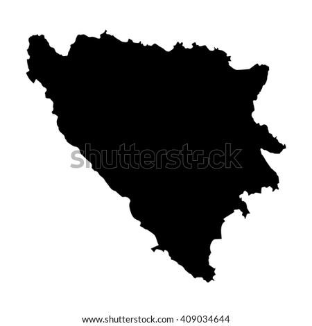 Vector map Bosnia & Herzegovina. Isolated vector Illustration. Black on White background. EPS 8 Illustration. - stock vector