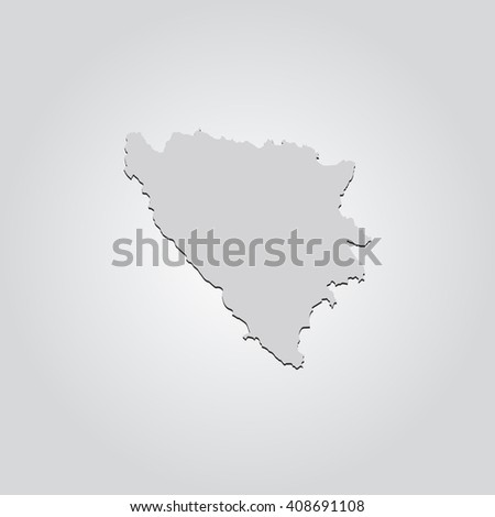 Vector map Bosnia & Herzegovina. Isolated vector Illustration. Gray on Gradient background. With shadow. EPS 10 Illustration. - stock vector