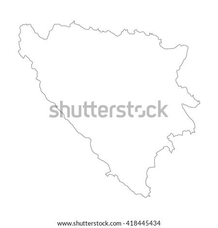 Vector map Bosnia & Herzegovina. Outline map. Isolated vector Illustration. Black on White background. EPS 8 Illustration. - stock vector