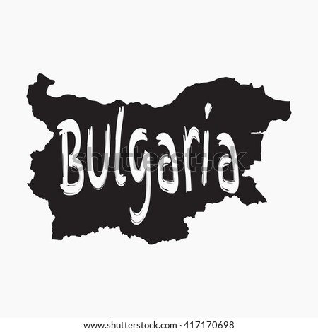 Vector map Bulgaria. Gray Isolated vector Illustration. On Grey background. Typography design. EPS 8 Illustration. - stock vector