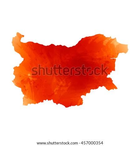 Vector map Bulgaria. Orange watercolor effect. EPS 10 Illustration. - stock vector