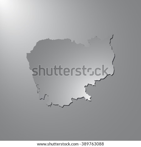 Vector map Cambodia. Gray background with gradient. Isolated vector Illustration. Gray on Gradient background. With shadow. EPS Illustration. - stock vector