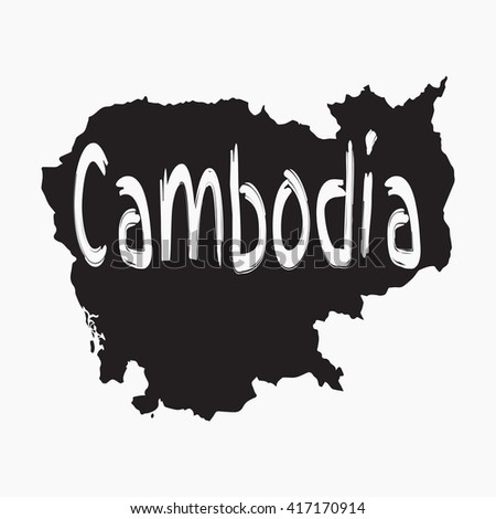 Vector map Cambodia. Gray Isolated vector Illustration. On Grey background. Typography design. EPS 8 Illustration. - stock vector