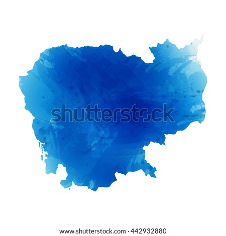 Vector map Cambodia. Isolated vector Illustration. Watercolor effect. EPS 10 Illustration. - stock vector