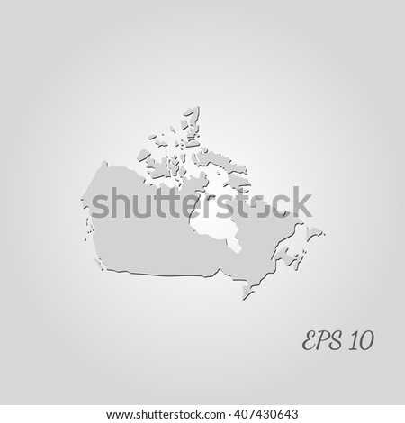 Vector map Canada. Isolated vector Illustration. Gray on Gradient background. With shadow. EPS 10 Illustration with an inscription.