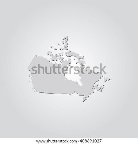 Vector map Canada. Isolated vector Illustration. Gray on Gradient background. With shadow. EPS 10 Illustration.