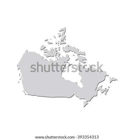 Vector map Canada. Isolated vector Illustration. Gray on White background. With shadow. EPS 10 Illustration.