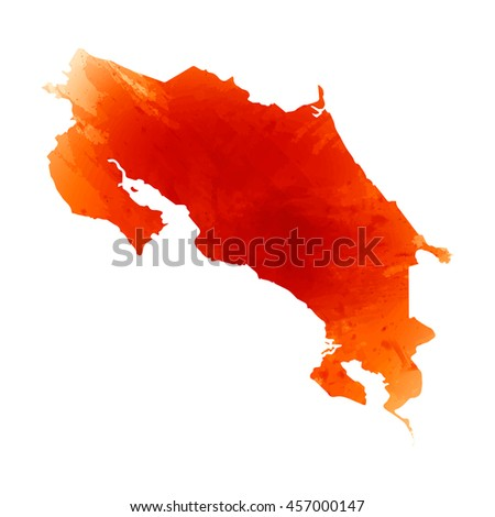Vector map Costa Rica. Orange watercolor effect. EPS 10 Illustration.
