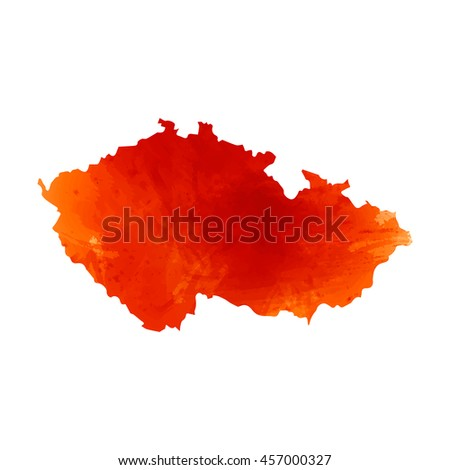 Vector map Czech. Isolated vector Illustration. Orange watercolor color. EPS 10 Illustration.