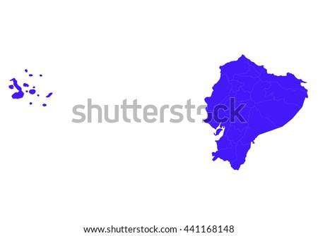 Vector map-ecuador country on white background. - stock vector