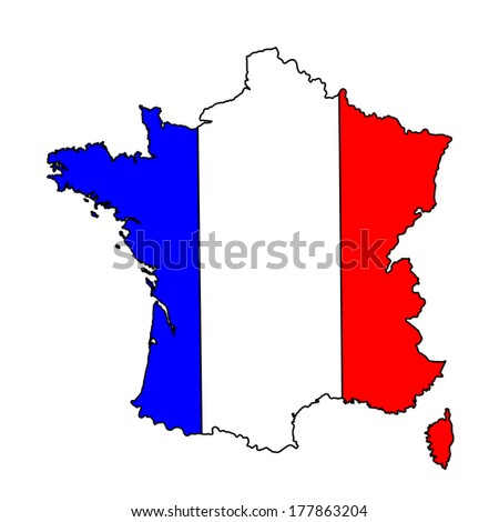 Vector map flag of France isolated on white background. High detailed.  - stock vector