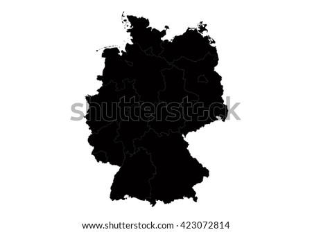 Vector map-germany country on white background. - stock vector