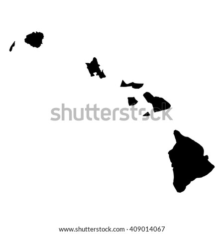 Vector map Hawaii. Isolated vector Illustration. Black on White background. EPS 8 Illustration.